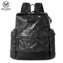 Король и Поцелуй ПУ мягкой кожи мужчины Рюкзак Черный крокодил картина тиснением молодежная мода прилив пакет для мужчин Backpac # KK7001