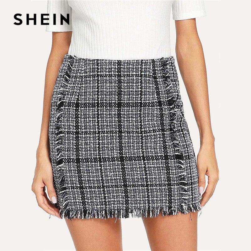 SHEIN Blue Mid Waist Mini Skirt