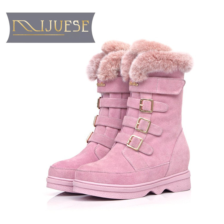 цена на MLJUESE 2019 women Mid calf boots cow Suede pink color buckle strap wool fur warm winter platform short plush women snow boots