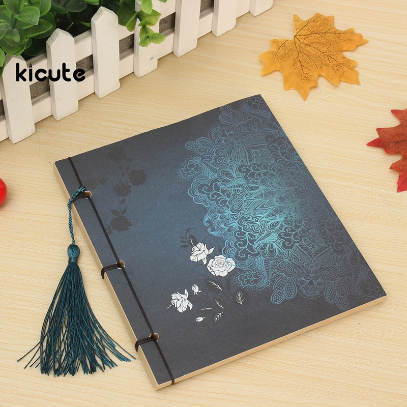 Kicute Vintage Style Blank Kraft Notebook Paper Stationery Chinese Thread Bound Diary Notepad Journal Travel Book Sketch kicute vintage scrapbook leather cover travel notebook journal diary blank kraft paper a5 spiral string nautical 6 ring binder