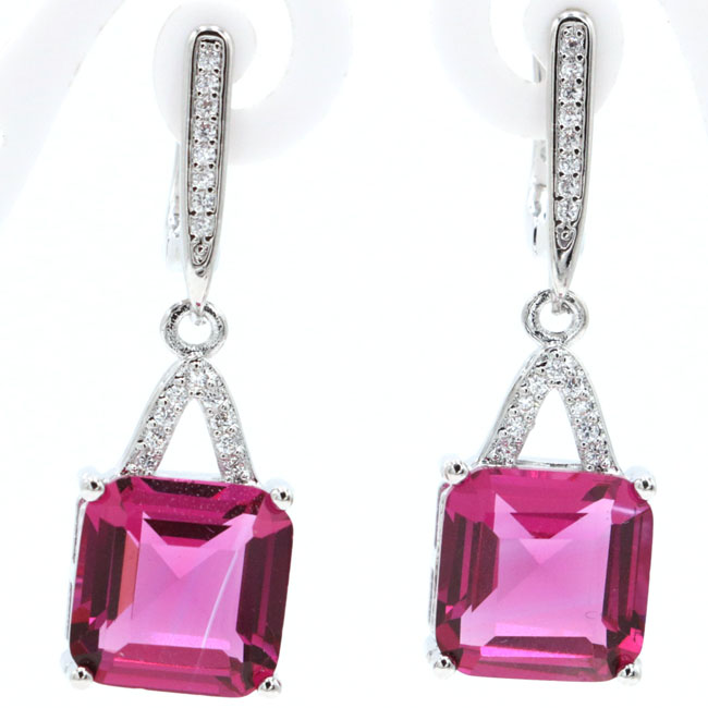 Elegant Square Pink Tourmaline Natural CZ Valentine's Day Gift 925 Silver Earrings 34x11mm