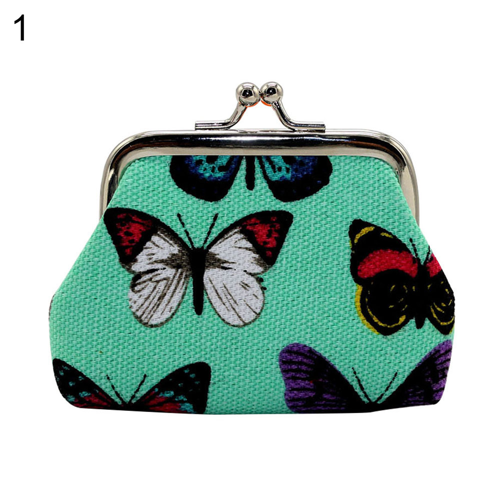 Retro Girl Mini Lightweight Kiss Lock Butterfly Cash Coin Storage Purse Wallet