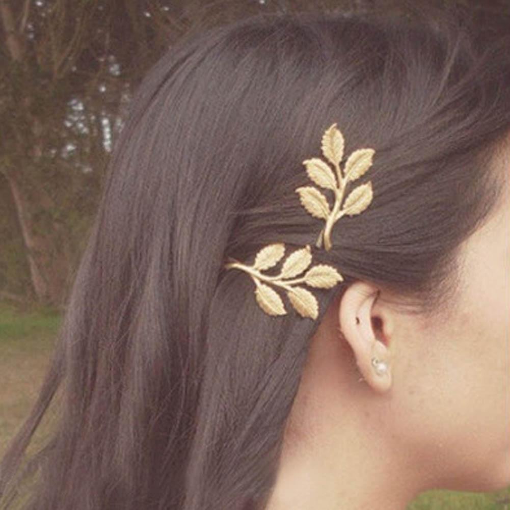 New Fashion Vintage Elegant Golden Head Hair Clip Women Wedding leaf Side Clip Hairpin Metal Headdress