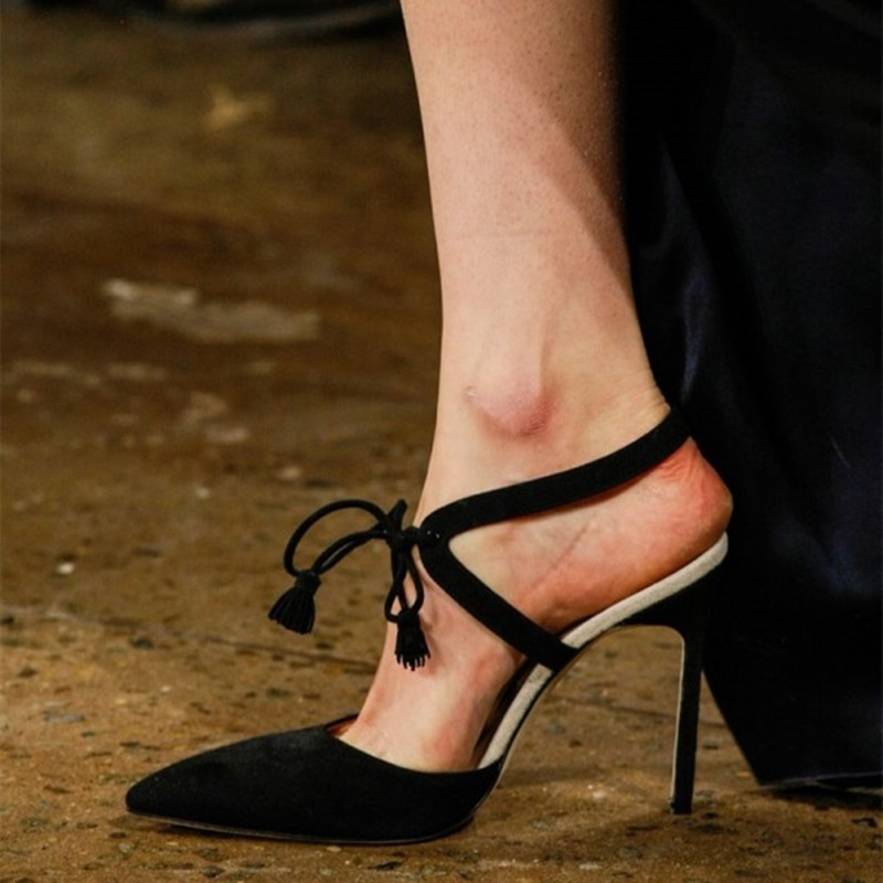 Black Suede Slingback Pumps Lace Up Tassel Stiletto Heel Pumps Sexy Women Pointed Toe Stilettos Closed Toe Thin Heels Dress Shoe in Women 39 s Pumps from Shoes