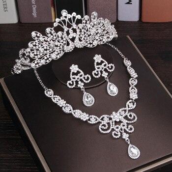 Diarios de noiva Joias Da Coroa Da Princesa Festa de Casamento Diadem Acessórios Romanticos Brincos Clipe Tiara