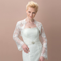 Dressv white/ivory long sleeve lace wedding jacket cheongsam pregnantwith married outerwear wedding accessories bridal wraps