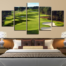 Canvas HD Prints Modular Pictures Home Decor 5 Pieces Golf Course Woods Landscape Painting  Wall Art Framework Poster