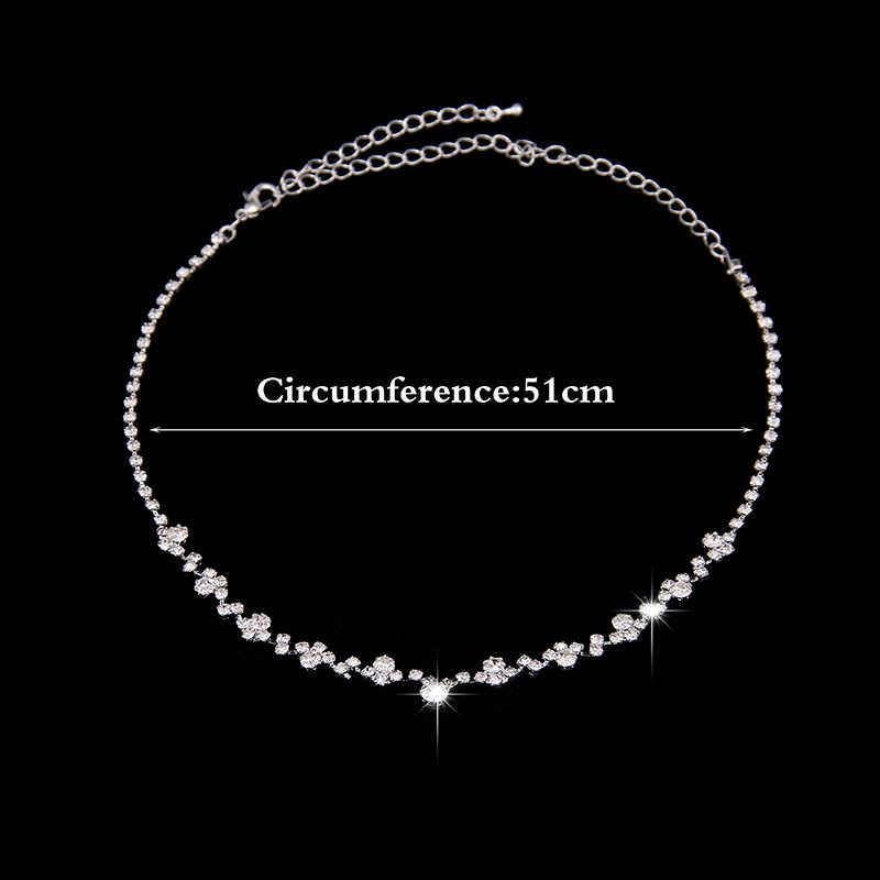 Fashion Hochzeit Schmuck Funkelnden Strass Kristall Halsband Halskette Ohrringe Set Charm Silber Überzogene Brautschmuck Set