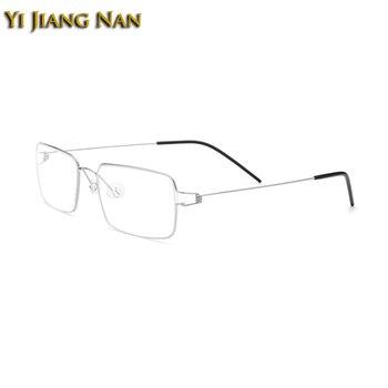 Yi Jiang Nan бренд титан ручной работы корейские оправы для очков мужские Безвинтовые очки по рецепту оптическая Женская оправа >> Yi Jiang Nan Official Store