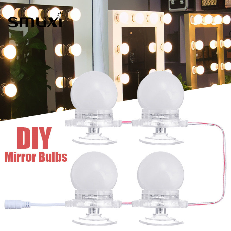 4Pcs Makeup Mirror Vanity LED Decoration Lighting Lamp LED Light Bulbs Kit with Dimmer Modern Bubble Ball Bulb Led Bulb Lights