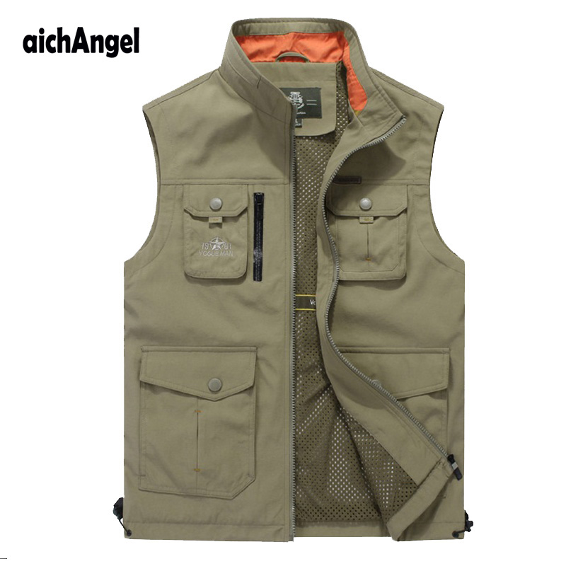 Tactical Vest New Male Casual Thin Sleeveless Jacket With Many Pockets  Male Plus Size 4XL Photographer Baggy Waistcoat