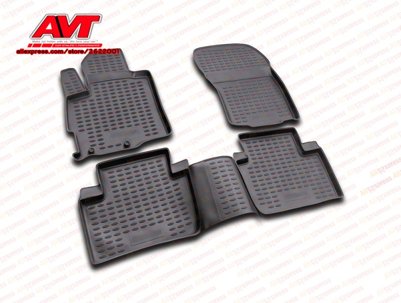 Floor mats case for Mitsubishi Outlander XL 2005 2012 4 pcs rubber rugs non slip rubber interior car styling accessories