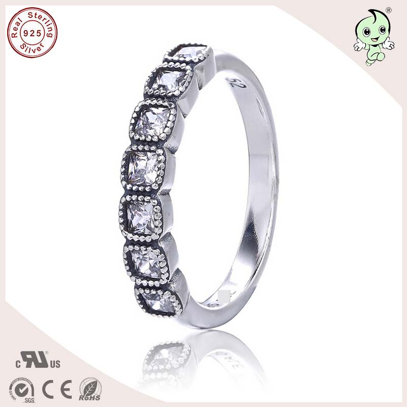 P&R European And America Famous Silver Jewelry Summer Collection Square Stone Paving 925 Sterling Silver Finger Ring for women