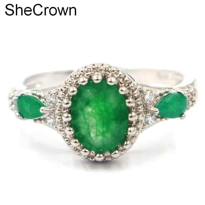 Gorgeous จริงสีเขียวมรกตสีขาว CZ ของขวัญสำหรับหญิง 925 แหวนเงิน 21x12 มม.
