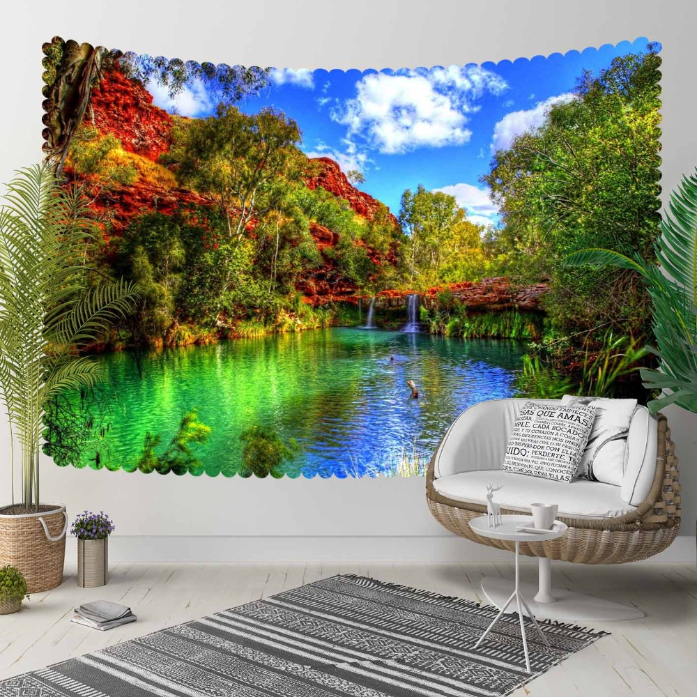 Else Green Brown  Trees Nature Blue Lake Sky 3D Print Decorative Hippi Bohemian Wall Hanging Landscape Tapestry Wall Art
