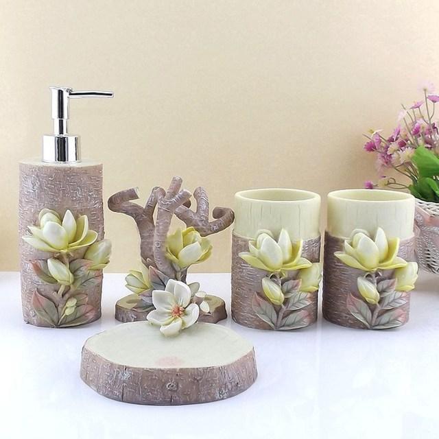 5 Teile/satz Bad accessoires Set 3D Magnolia Scalpture Seifenhalter ...