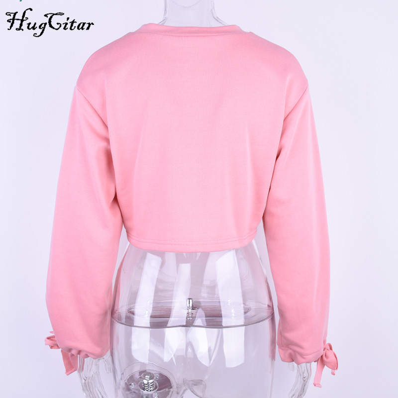 hugcitar letters embroidery sweatshirt 2017 autumn female long sleeve women crop top pink white solid girl casual pullover Hugcitar letters embroidery Sweatshirt female, Long Sleeve crop top UTB88a3RkhHEXKJk43Jeq6yeeXXah