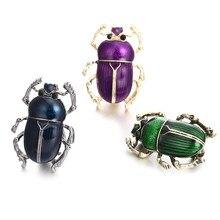 Novo vintage jóias besouro broches para crianças esmalte verde roxo animal insetos broche jóias
