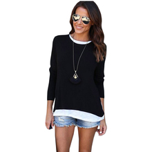 New Autumn European Style Casual Women Fake Two Piece Long Sleeve T Shirt Female Tops Clothing