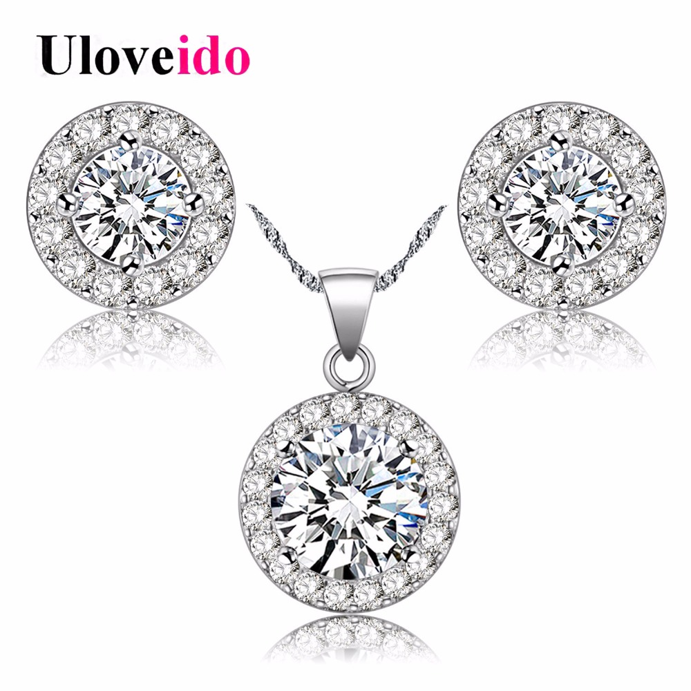 Uloveido Crystal Women Wedding Jewelry Sets for Brides Necklace Earrings Silver Color Jewelry Set Jewelery Costume JST001