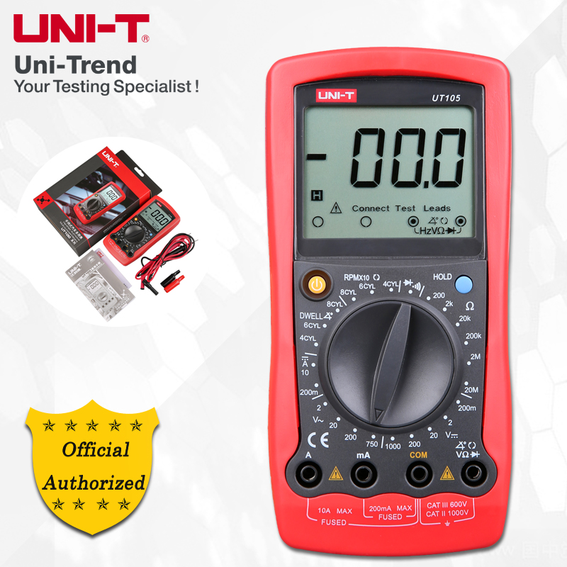 UNI-T <font><b>UT105</b></font>/UT107 Automobile Multimeters; Manual Range Digital Multimeter, Resistance/Frequency/Temperature Test image