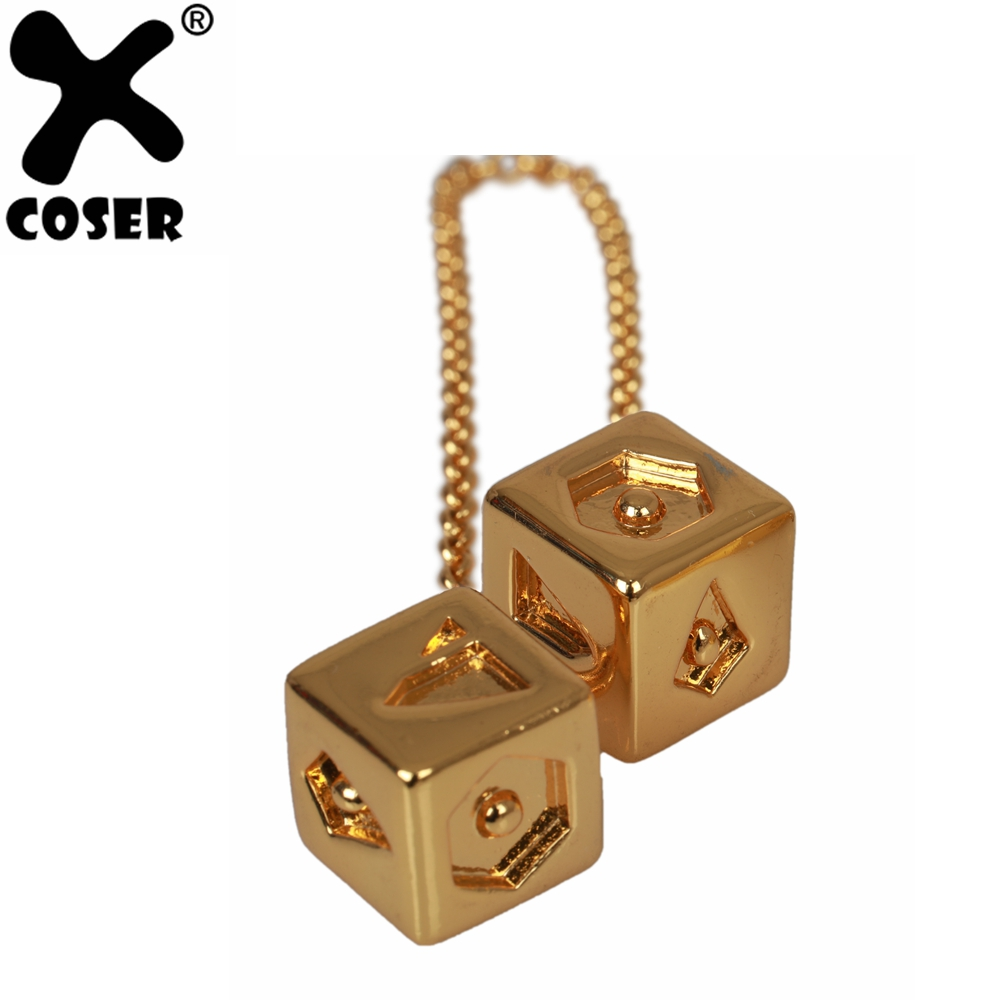 XCOSER Solo: A Star Wars Story Cosplay Han Solo Golden Dice Pendant Golden Copper Alloy Halloween Cosplay Costume Prop For All
