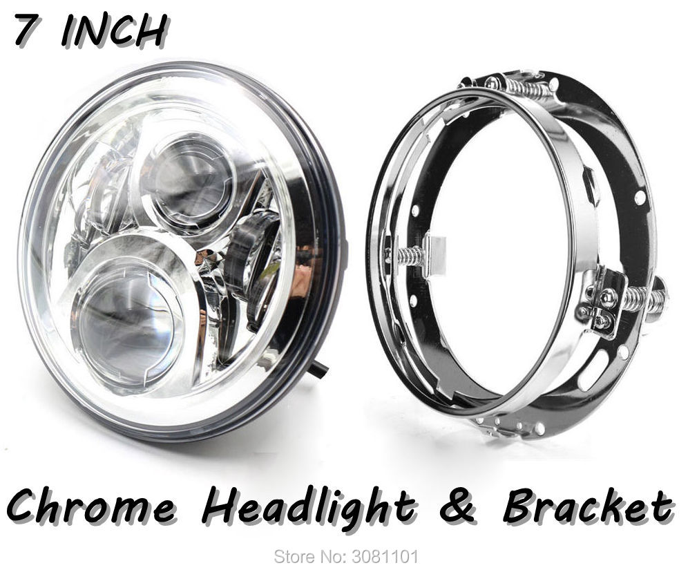 Black/Chrome 7 INCH LED Headlight Hi-Lo Beam for Motorcycles with led lamp mount bracket for For Harley Davidson FLD 2012-2013 7 inch motorcycle led headlight hi lo beam assemblies lamp projector for harley