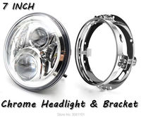 Black Chrome 7 INCH LED Headlight For Motorcycles With Led Lamp Mount Bracket For For Harley