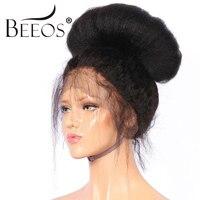 BEEOS 12 24 250 Плотность перуанский полный кружево парик натуральные волосы с ребенком волосы Remy странный прямой парик для женщин отбеленные уз