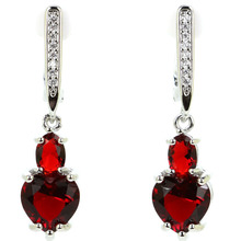 SheCrown Heart Shape Red Blood Ruby Cubic Zirconia Gift For Girls Silver Earrings 34x8mm