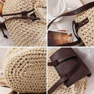 Image 4 - Женский соломенный рюкзак на шнурке, модная пляжная популярная сумка на лето, большой дорожный ранец BP3002