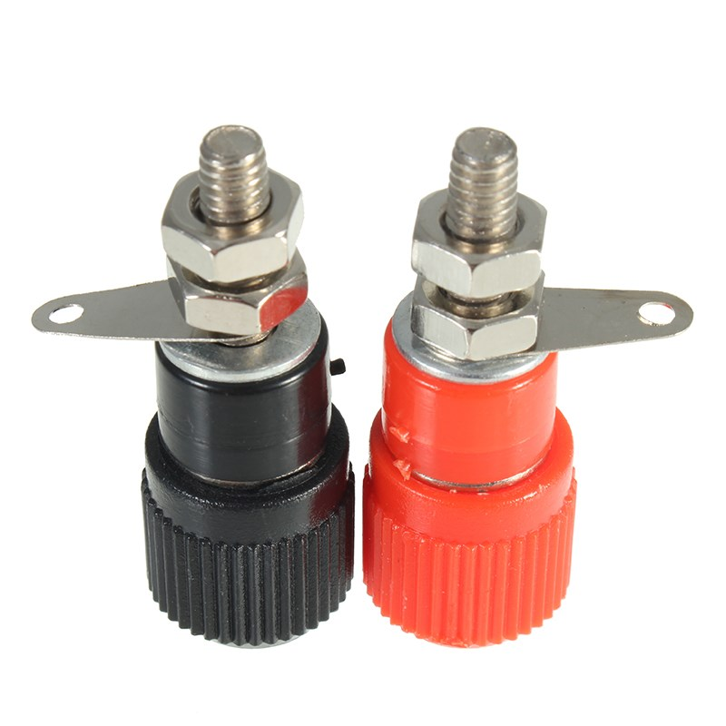 Amplifier Terminal Binding Post Banana Plug 2PCS One Pair (RED + BLACK) Jack Panel Mount Connector