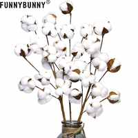 FUNNYBUNNY Made from Real Natural White Cotton Flowers Bolls Farmhouse Style Rustic Floral for Home Decor Wedding Centerpiece