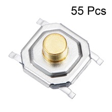 цена на UXCELL 55PCS 5x5x2.5mm Switches Momentary Panel PCB SMD SMT Mount 4 Pins Push Button SPST Tactile Tact Switch Accessories