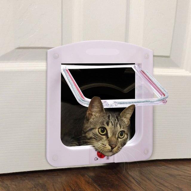 Lockable Cat Flap Dog Door Manual Control Access Pet Door 4 Way Locking CAt Door White for Puppy Pet Cats