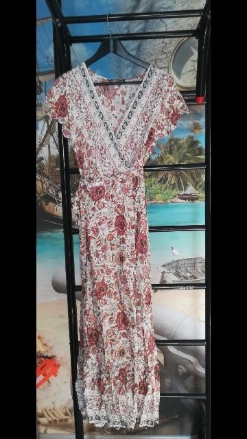 Vintage Floral Print Summer Dress Ruffle Split Sash Sexy Long Dress Bohemian Women Dress Holiday Beach Dress Vestidos photo review