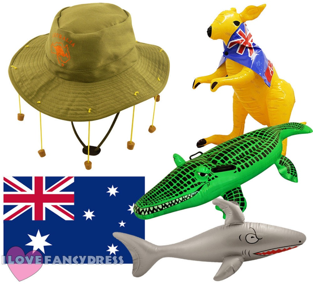 CORK HAT FLAG AND CHOOSE INFLATABLE CROCODILE KANGAROO SHARK TOY AUSTRALIA FLAG DAY FANCY DRESS PACK AUSSIE KIT