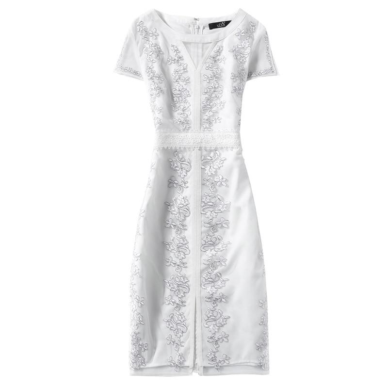 Noir O cou 2018 Arrivée Femmes Robes Robe Appliques Sexy Vintage Designer blanc Nouvelle Élégante 6Z4HqawB