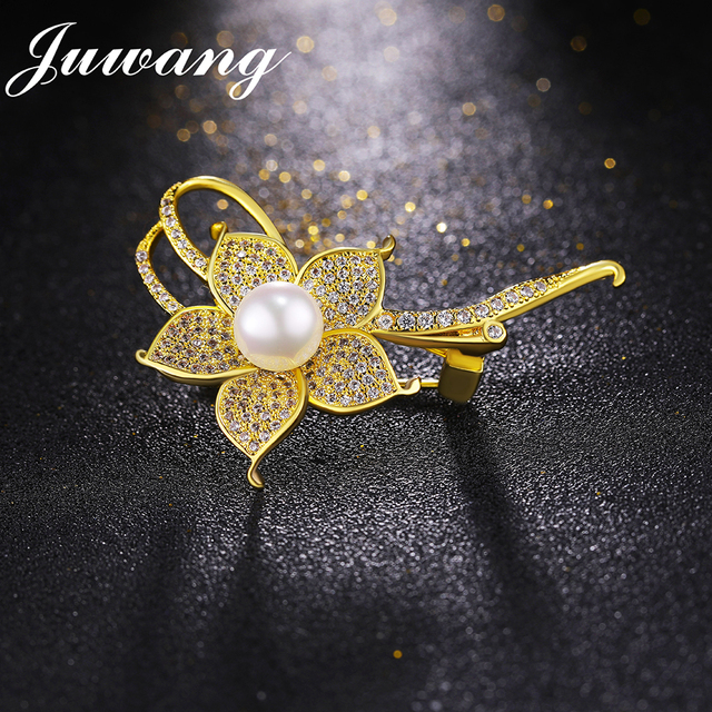 JUWANG Fashion Flower Brooches for Women AAA Cubic Zirconia Wedding Bridal Austrian Crystal Brooch and Pins Gift Wholesale