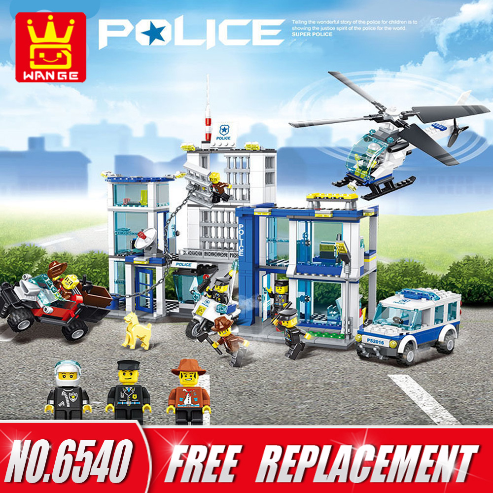 WANGE Building Blocks City Police Station Set Super Police 882pcs Bricks DIY Educational Kids Toys Children Gifts NO.6540 super cool 115pcs set forklift trucks assembly building blocks kits children educational puzzle toys kids birthday gifts