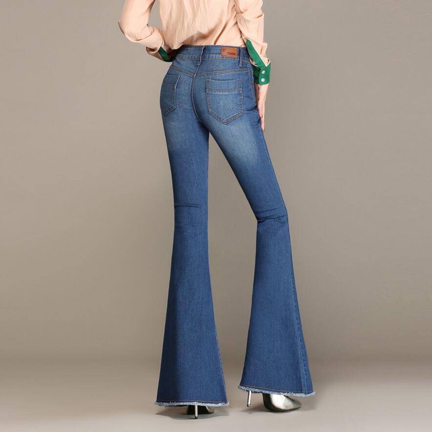 b0742b700fa Autumn High Waist Flare Jeans Pants Plus Size Stretch Skinny Jeans Women  Wide Leg Slim Hip ...