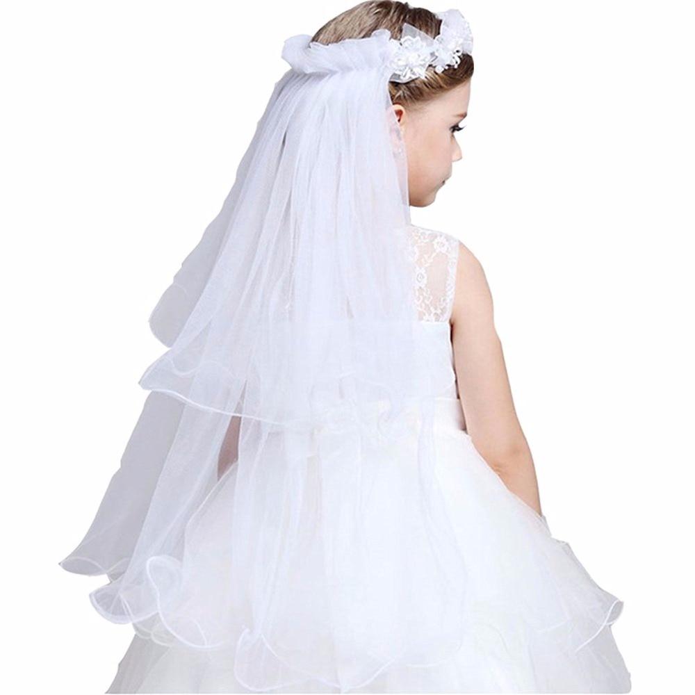 Meisjes eerste communie veils hoofdband witte bloemen krans bruiloft - Babykleding - Foto 2