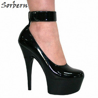 Sorbern Fashion Ankle Straps Round Toe 15Cm Spike High Heel Shoes 42 Closed Toe High Heels Exotic Heels Big Size Women Shoes