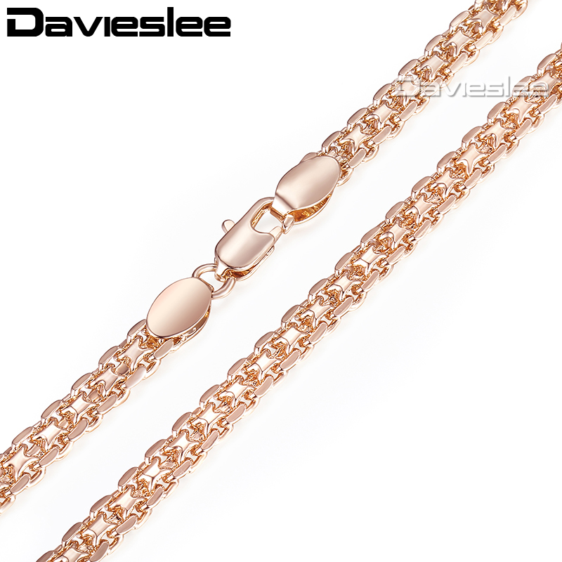 Davieslee Necklace for Women 585 Rose Gold Filled Bismark Hammered Wome