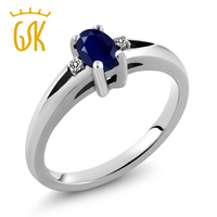 0 58 Ct Oval Blue Sapphire White Diamond 925 Sterling Silver Ring