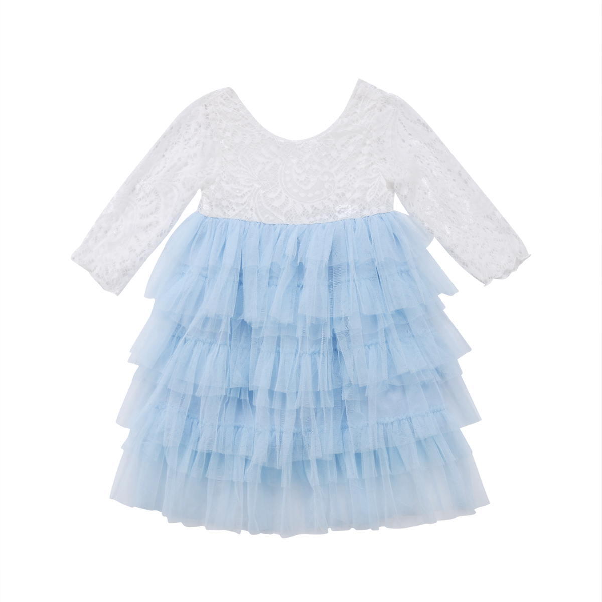 Toddler Kid Baby Girls Clothing Ruffles Cute Lace Dress Long Sleeve Party Tiered Prom Tutu Bridesmaid Party Pageant Dresses Girl