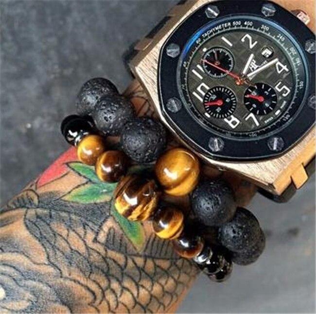 High Quality Charm Beaded Bracelet Men Bracelet Homme Black Bead Tiger Eye Stone Natural Stone Jewelry Woman Best Gift For Men
