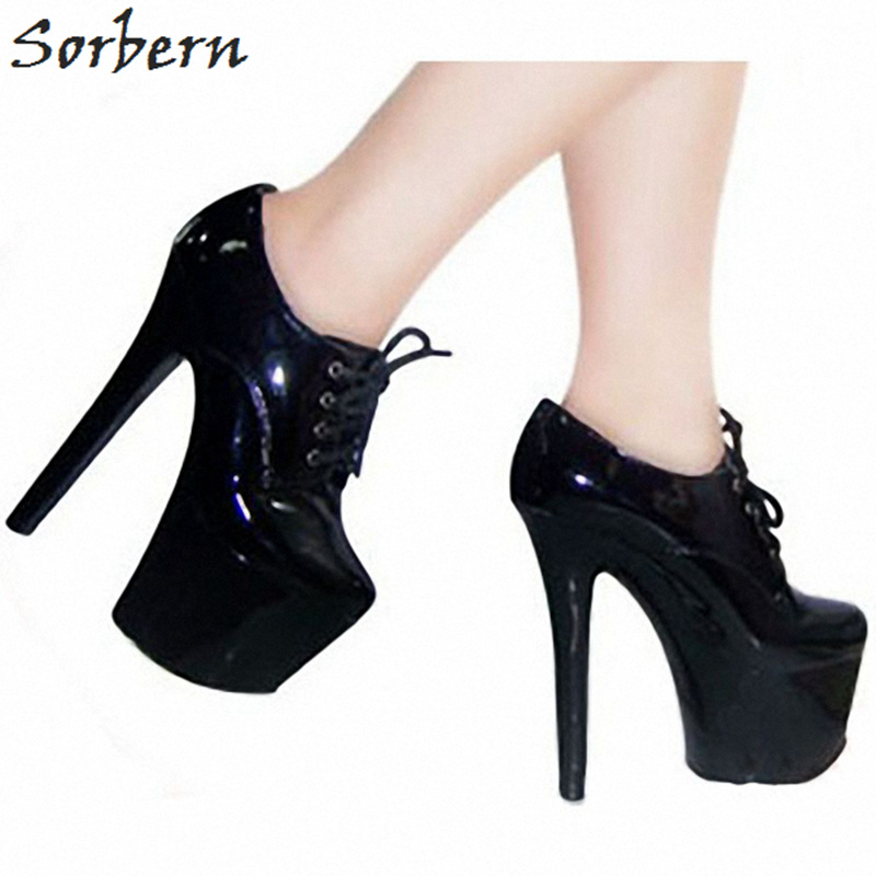 все цены на Sorbern 17Cm Heels Women Pumps Lace Up Platform Shoes Ladies Goth Shoes For Women Plus Size Thick Platform Shoe Lace Up Shoes
