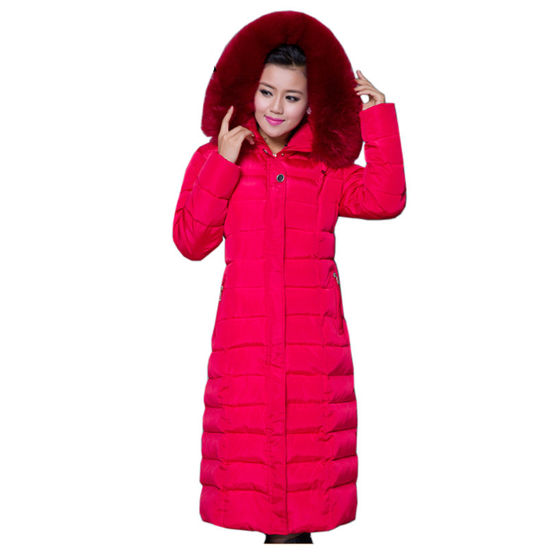 Women's winter Cotton jacket fur collar hooded Overcoat Long section high quality thick warm   parka   outerwear Female