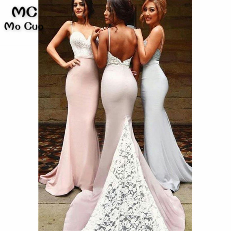 Ready Ship 2019 Backless Bridesmaid Dresses Wedding Party Dress Lace Straps Elastic Satin Evening Dresses Bridesmaid Dress